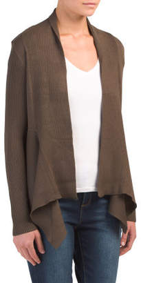 Short Open Drape Front Cardigan