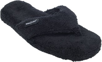 Minnetonka Women's Olivia Black Terry Thong SpaSlippers