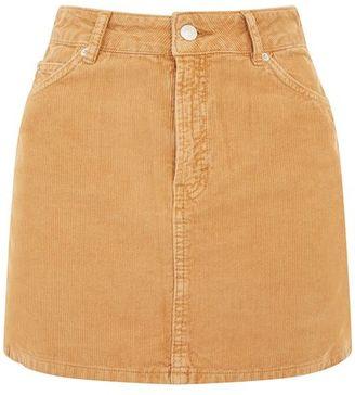 Topshop Moto camel cord mini skirt