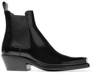 Calvin Klein Claire Metal-trimmed Leather Ankle Boots - Black
