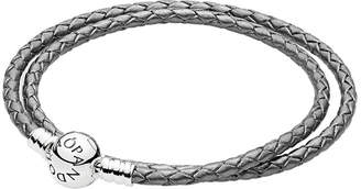 Pandora Moments Silver Leather Grey Braided Double-Leather Charm Bracelet
