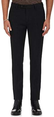 John Varvatos MEN'S JERSEY-TRIMMED WOOL SLIM-FIT TROUSERS