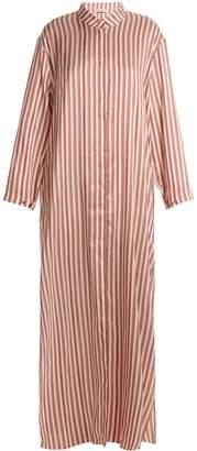 KALMAR Mandarin-collar striped-silk dress
