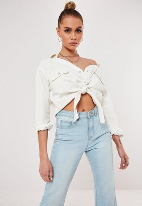 Missguided White Denim Tie Waist Shirt
