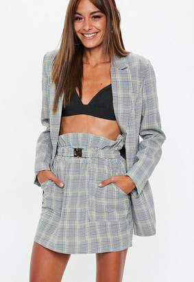 9851aef9382 Missguided Gray Heritage Plaid Paperbag Waist Mini Skirt