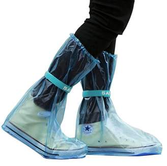 Unique Bargains 1 Pair Hook Loop Closure Rain Boots Shoes Cover Guard Overshoes Blue Size M
