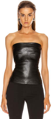 Rick Owens Leather Bustier Top in Black | FWRD