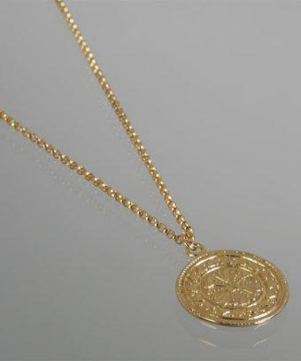 Argento Vivo gold tribal disc pendant necklace