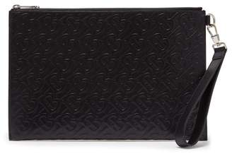 Burberry Edin Medium Tb Embossed Leather Pouch - Mens - Black