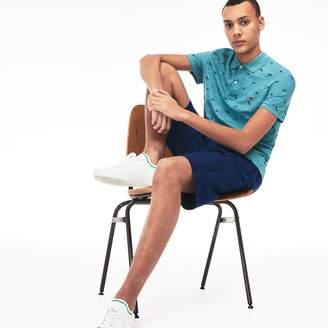 Lacoste Men's Slim Fit Airplane Print Cotton And Linen Pique Polo Shirt