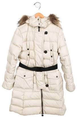 Moncler Girls' Fur-Trimmed Puffer Coat