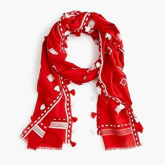 J.Crew Summerweight embroidered pom-pom scarf