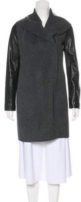 Vince Wool Leather-Paneled Coat