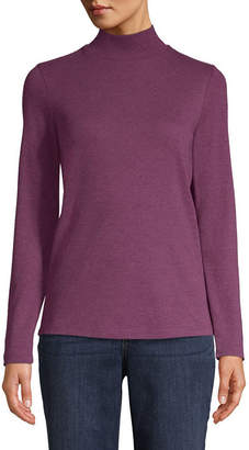 ST. JOHN'S BAY Long Sleeve Mock Neck T-Shirt-Womens