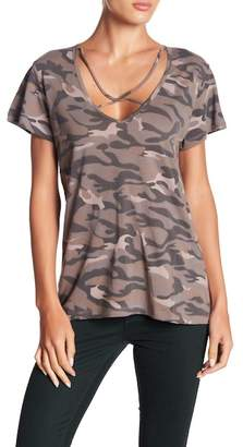 Wishlist Camo Print Criss-Cross Strap V-Neck Tee