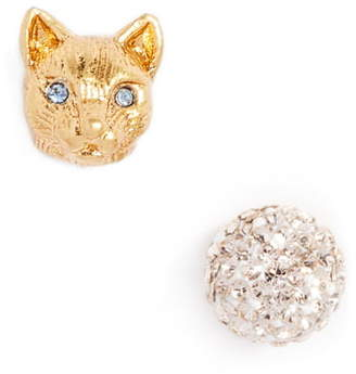 Kate Spade House Cat Mismatched Pave Stud Earrings