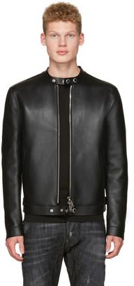 Dsquared2 Black Bonded Leather Biker Jacket $2,195 thestylecure.com