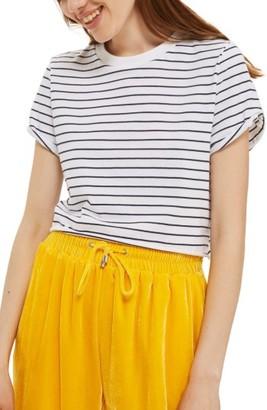 Women's Topshop Roll Cuff Stripe Tee $22 thestylecure.com