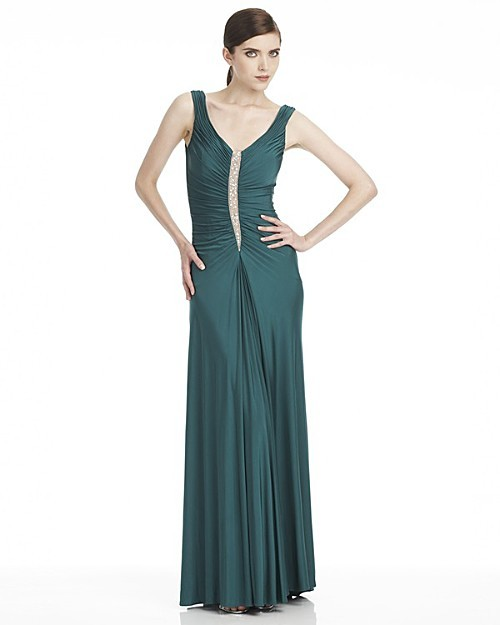 Aidan Mattox Niteline Long V-Neck Dress