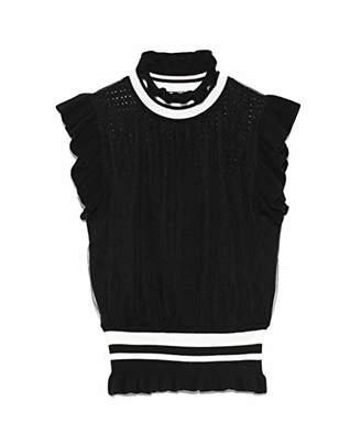 Snidel (スナイデル) - [スナイデル] セーター チュールドッキングハイネックニットトップス BLK 日本 F (FREE サイズ)