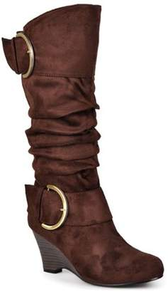 Co Brinley Womens Knee-High Buckle Slouch Wedge Boot