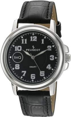 Peugeot Men's 'Bluetooth Smart Connected' Quartz Metal and Leather Dress Watch, Color:Black (Model: LQ1003BK)