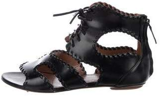 Alaia Patent Leather Lace-Up Sandals