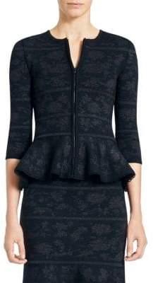 Carolina Herrera Jacquard Peplum Knit Jacket