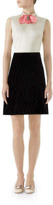 Gucci High-Neck Sleeveless A-Line Silk Duchess Dress