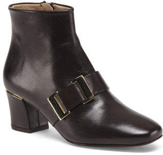 Leather Ankle Booties With Buckle Detail