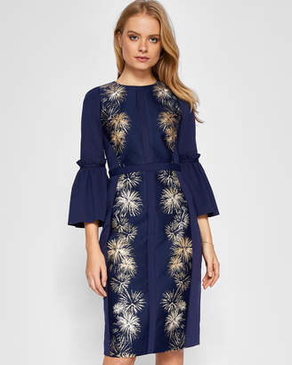 Ted Baker JEEANE Stardust flute sleeve midi dress