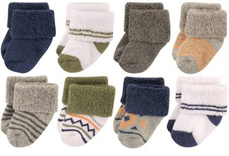 Luvable Friends Baby Boys' Newborn Terry Socks 8-Pack