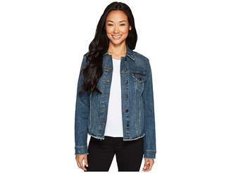 NYDJ Denim Jacket w/ Frayed Hem Women's Coat
