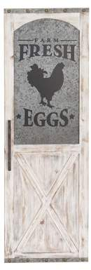 FarmHouse Fresh DecMode Decmode Eggs Wood And Metal Door Wall Panel, White