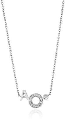 S/H Koh 14k White Gold & Diamond Modernist Initials Circle Pendant Necklace