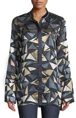 Lafayette 148 New York Desra Colliding Angles Burnout Velvet Blouse, Plus Size