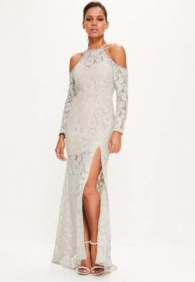 Missguided Grey Lace Cold Shoulder Maxi Dress