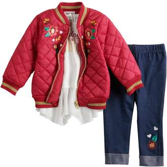 Little Lass Baby Girl Quilted Bomber Jacket, Ruffled Top & Embroidered Jeggings Set