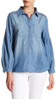 Susina Chambray Lace Trim Bishop Sleeve Shirt (Petite)