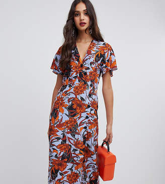 Miss Selfridge wrap midi dress with button through in floral print