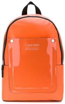 Calvin Klein vinyl logo patch backpack