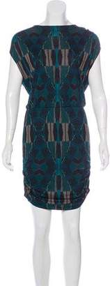 Dolce Vita Leather-Trimmed Printed Dress