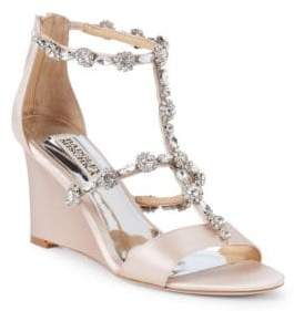 Badgley Mischka Tabby Embellished Satin Wedge Sandals