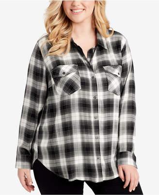 Jessica Simpson Trendy Plus Size Plaid Button-Front Shirt