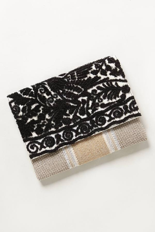 Anthropologie Embroidered Operetta Clutch