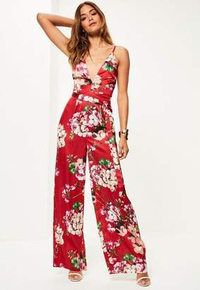 Missguided Red Floral Print Silky Strappy Romper