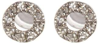 Carriere Sterling Silver Pave Diamond Open Circle Stud Earrings - 0.05 ctw