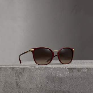 Burberry Check Detail Square Frame Sunglasses