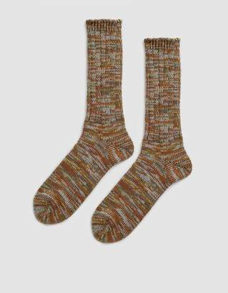 Anonymous Ism 5 Color Mix Crew Sock in Khaki