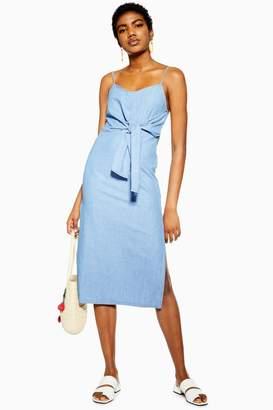 c25b6d7b3f7b Topshop Womens Blue Tie Front Denim Midi Dress - Mid Stone